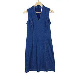 J.McLaughlin Denim Sleeveless V Neck Zip Up Dress